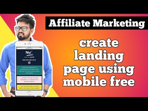 Free landing Page building On Mobile 2020   Affiliate Marketing Hindi