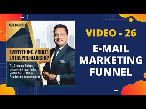 Video 26 : E-mail marketing funnel   EAE course   Dr. Vivek Bindra