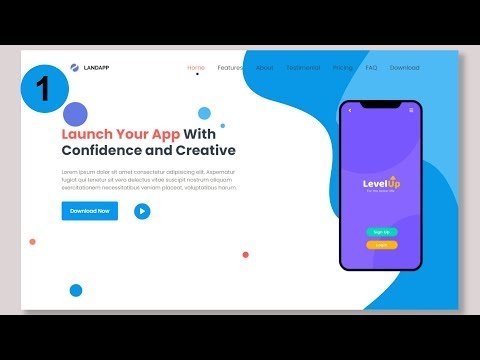 #1 Complete Responsive App Landing Page Website using Html and Css and Bootstrap
