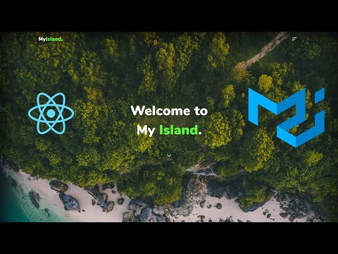Build landing page with React and Material UI.