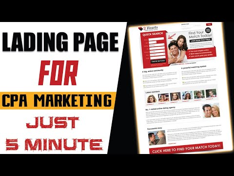 Create Your Own Landing Page to Promote Affiliate &CPA offers✔️Free Landing Page For CPA Marketing