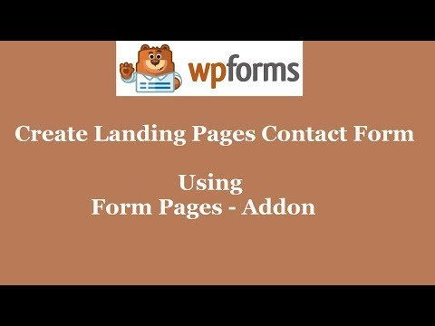 Form Pages Addon WPForms | Create Landing Pages Contact Form